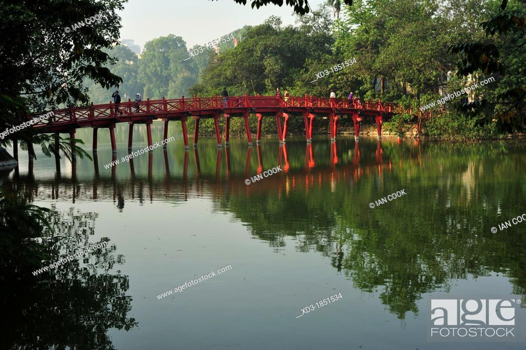 Stock Photo: bridge to Ngoc San Temple Temple of the Jade Mountain, Jade Island, Hoan Kiem Lake, Hanoi, Vietnam.