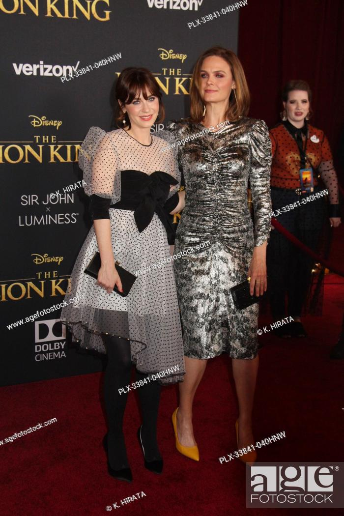 "Stock Photo: Zooey Deschanel, Emily Deschanel 07/09/2019 """"The Lion King"""" Premiere held at the Dolby Theatre in Hollywood, CA. Photo by: K."