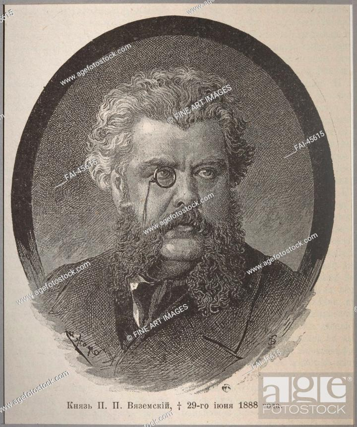 Stock Photo: Prince Pavel Petrovich Vyazemsky (1820-1888) by Anonymous /Woodcut/Book design/1888/Russia/State Museum of A.S. Pushkin, Moscow/Portrait/Graphic arts/Fürst.
