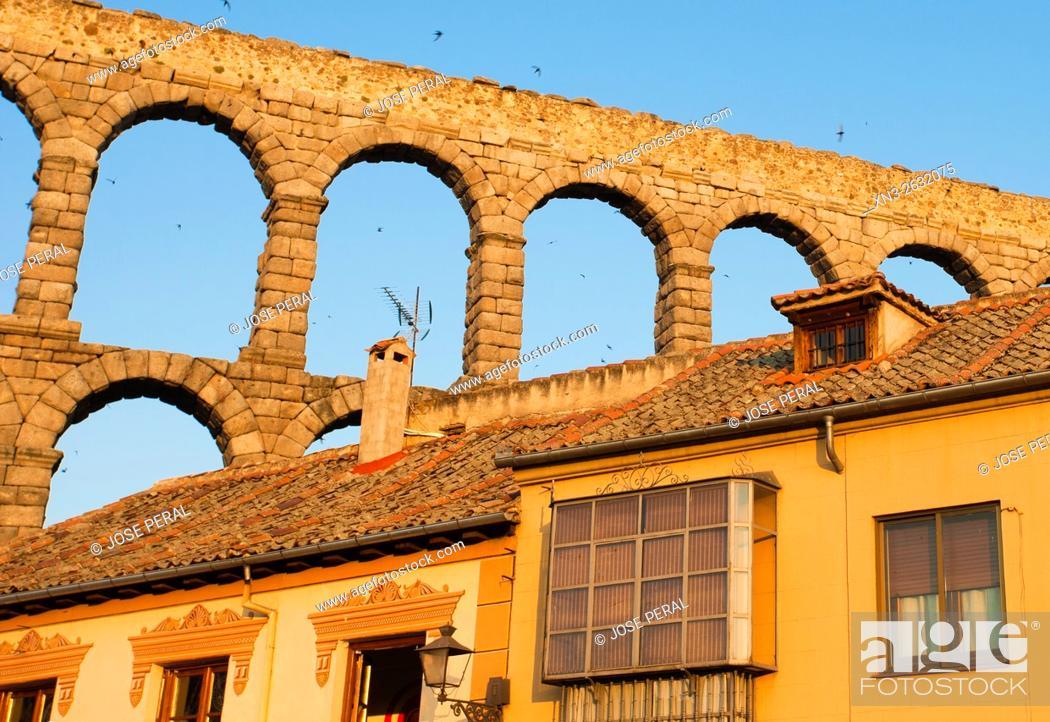 Stock Photo: Roman Aqueduct, Artilleria Square, Segovia, Castilla León, Castile and León, Spain, Europe.