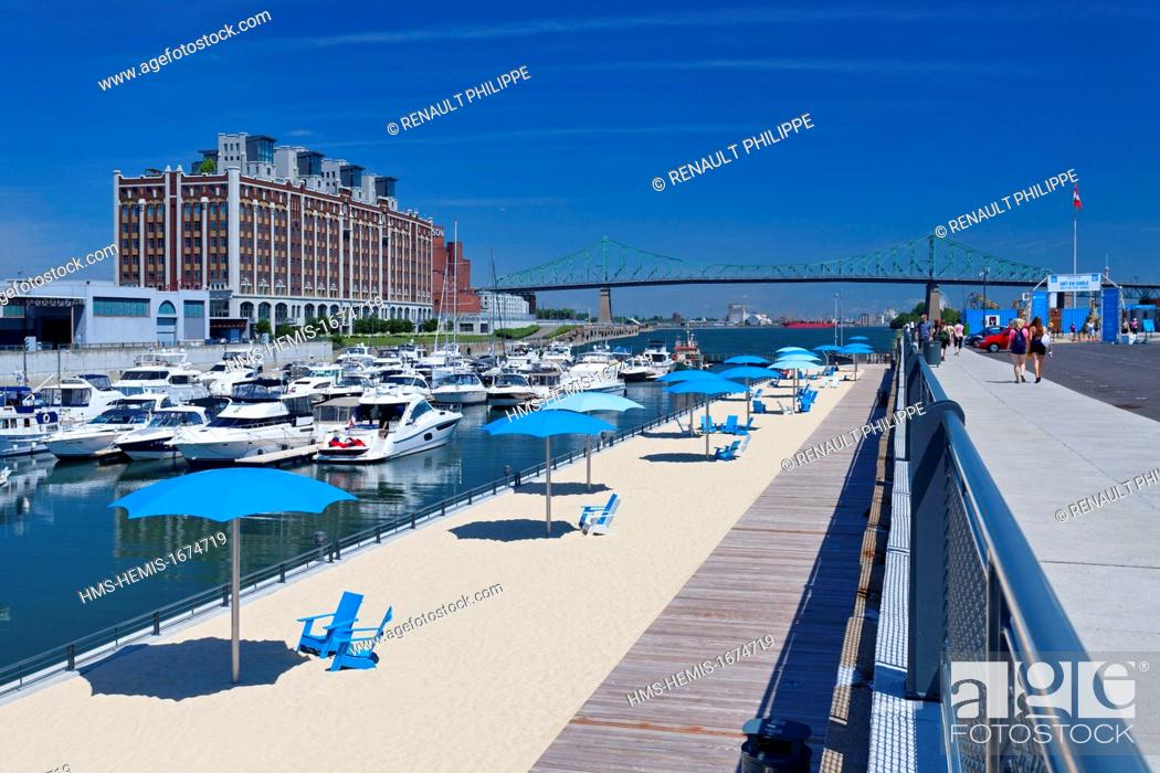 Stock Photo Canada Quebec Province Montreal Old Port The Beach La Plage De L Horloge Urban Concept Inspired By Paris Plages In France