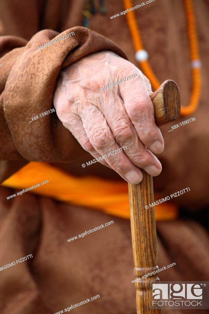 Stock Photo: Detail of the hand holding a walking stick, Mongolia.