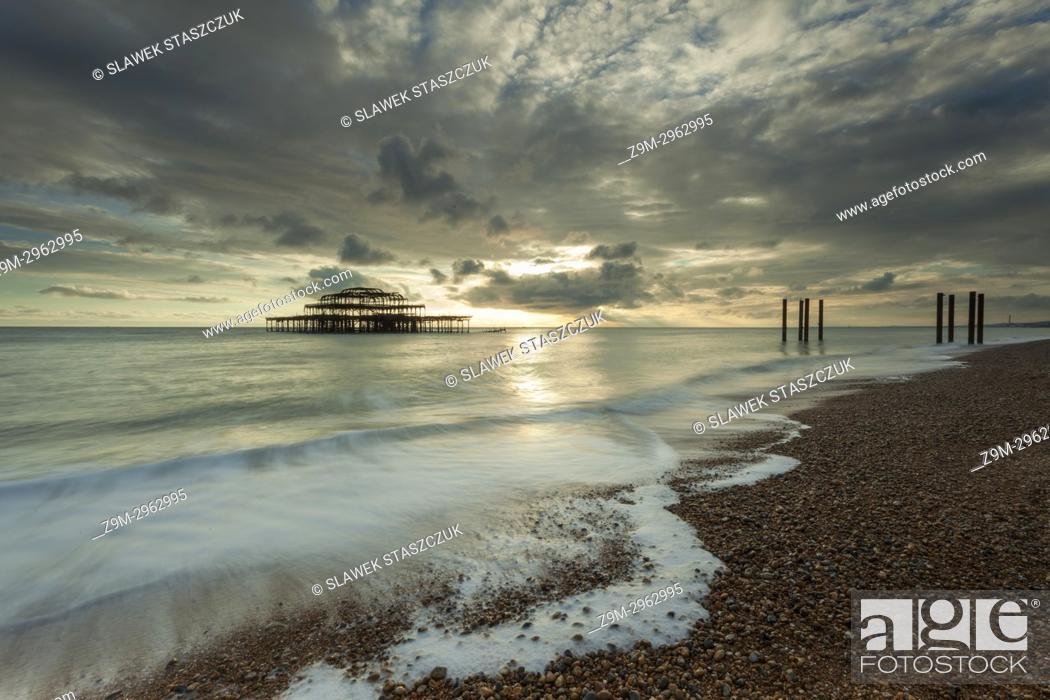 Stock Photo: Sunset at West Pier in Brighton, East Sussex, England.