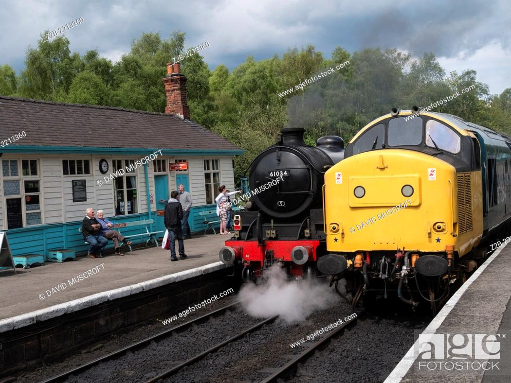 Stock Photo: Vintage steam and diesel engines or locomotives at Grosmont station, North Yorkshire Moors Railway, on the North Yorkshire Moors, Yorkshire, UK.