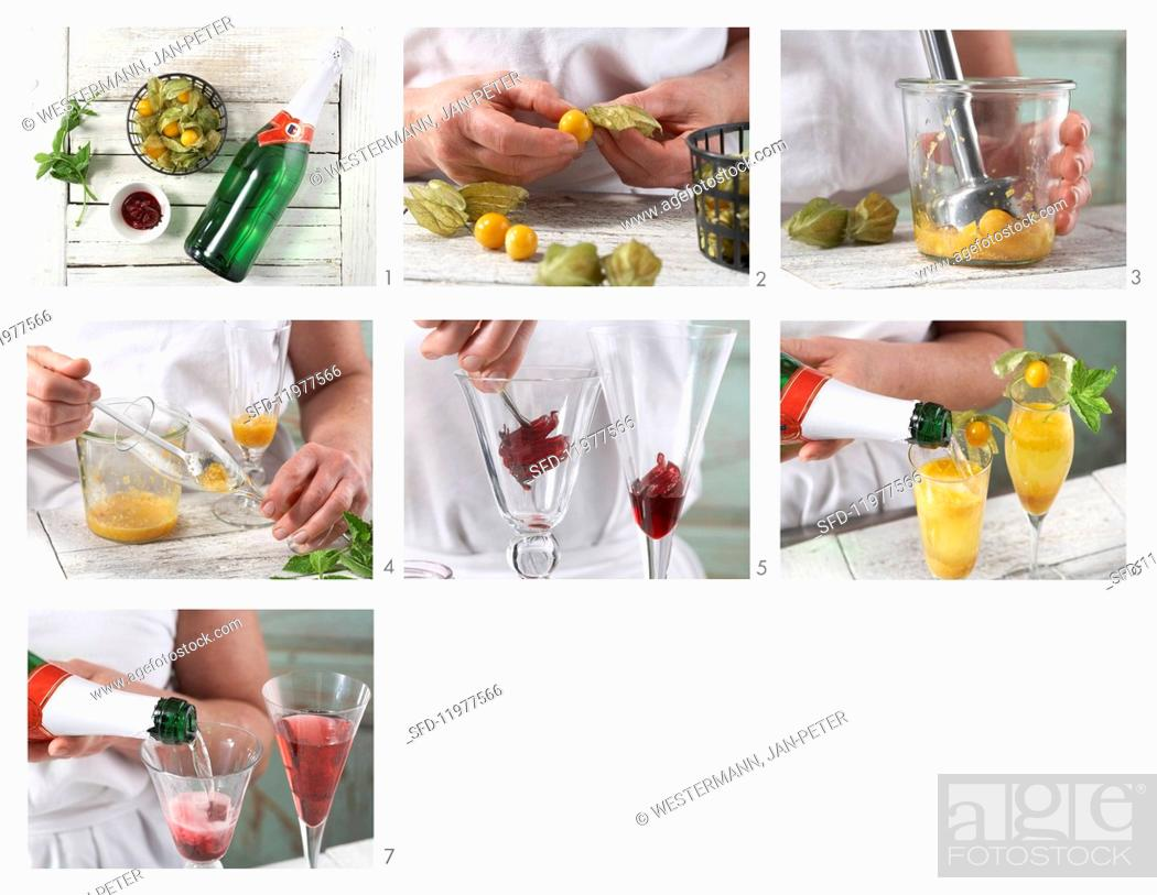 Stock Photo: Fruity champagne cocktails being made.