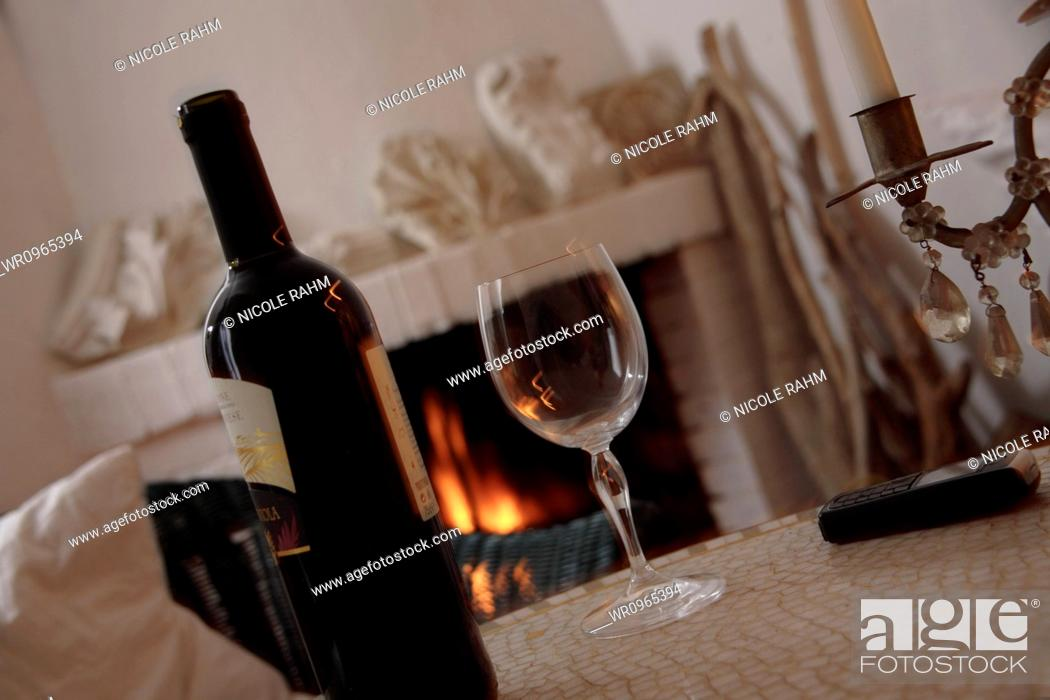 Stock Photo: No People, Close-Up, Cell Phone, Heat, Horizontal, View, Comfortable, Beverage, Drink, Drinking, Drinking Glass, Glass, Interior, Detail, Lifestyle, Alcohol, Wine, Celebration, Fire, Food, Party, Fire Place, Fireplace, Taste, Cell, Cellular, Mobile, Table, Evening, Nutrition