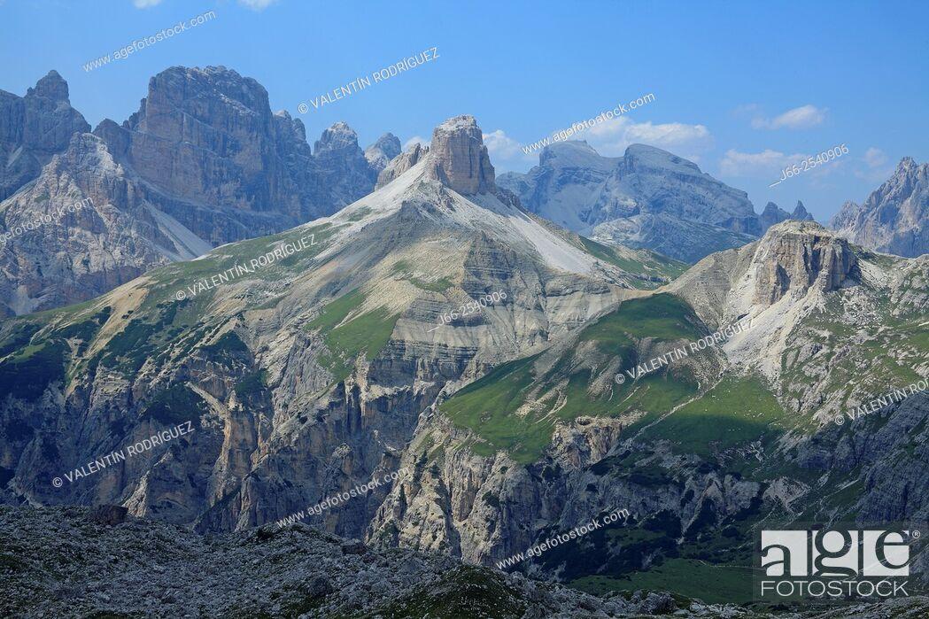 Stock Photo: Landscape next to the Three Peaks of Lavadero. Dolomites of Auronzo. Italy.