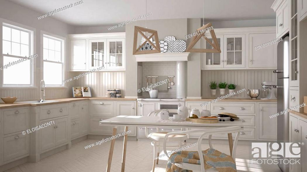 Stock Photo: Scandinavian classic white kitchen with wooden details, minimalistic interior design.