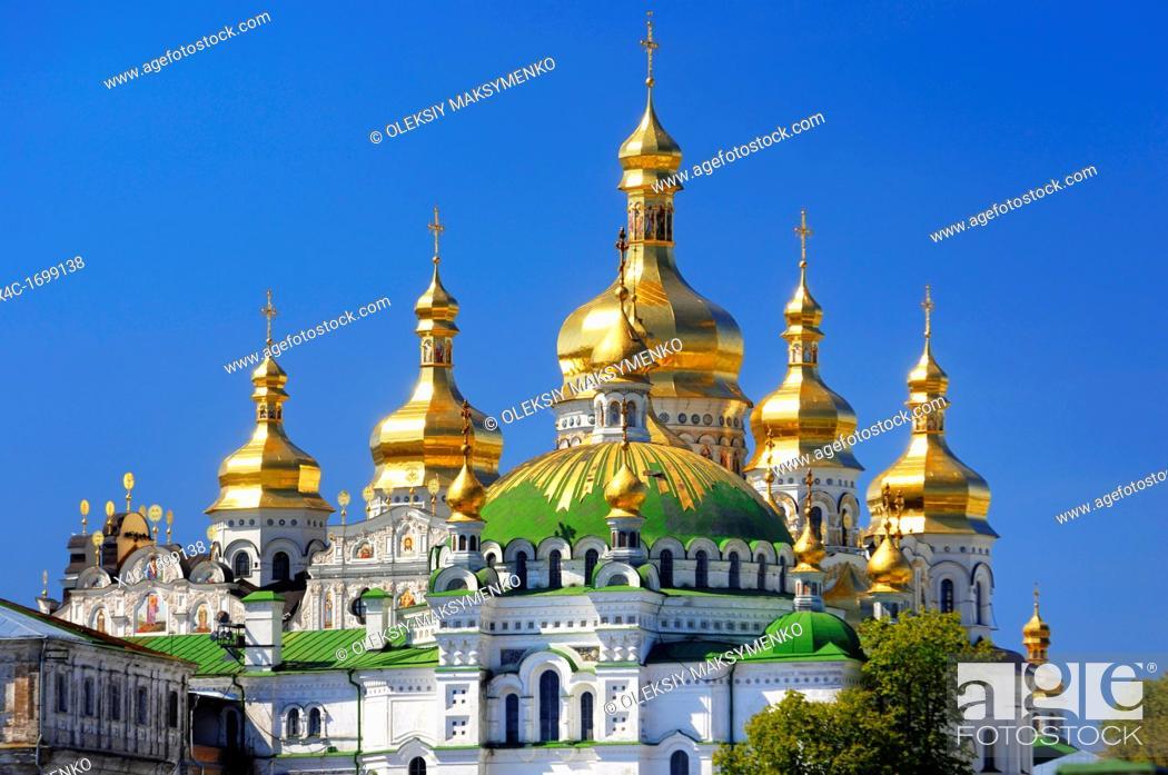 Stock Photo: Golden cupola of the Mother of God Assumption church Kiev pechersk lavra, Cave monastery in Kiev, Ukraine.