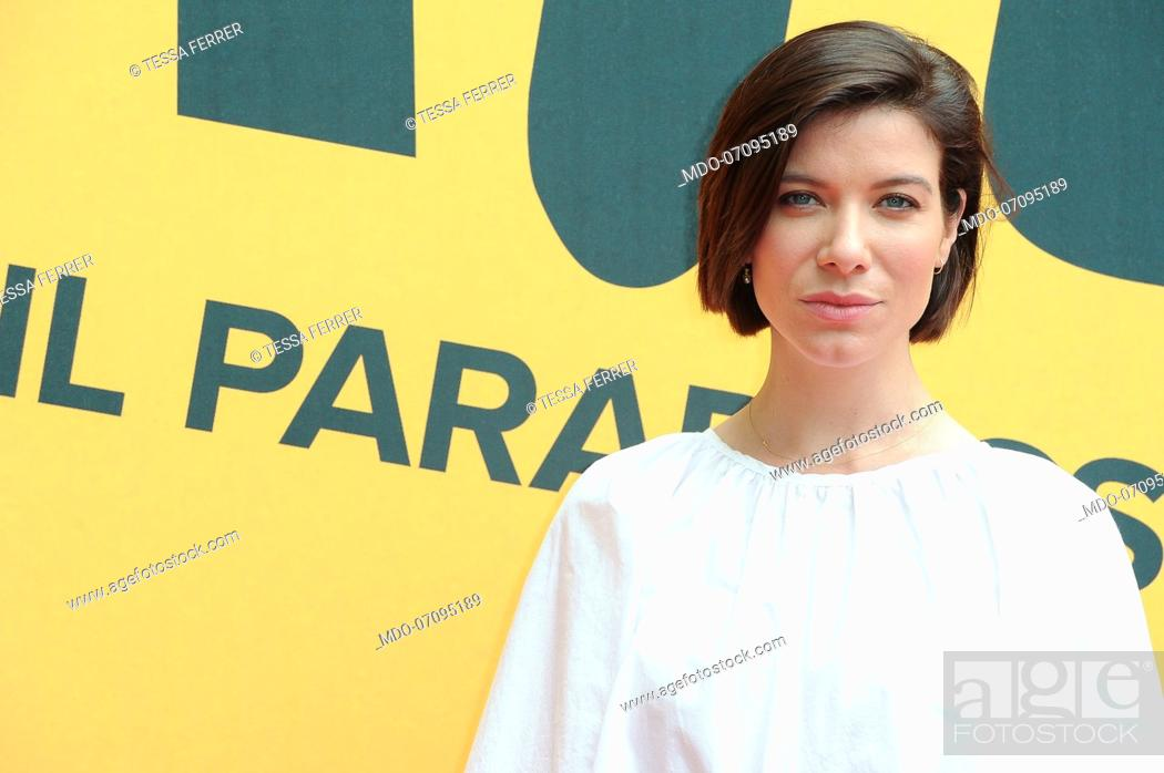 Stock Photo: American actress Tessa Ferrer attends the Sky TV series Catch-22 photocall. Rome (Italy), May 13th, 2019.