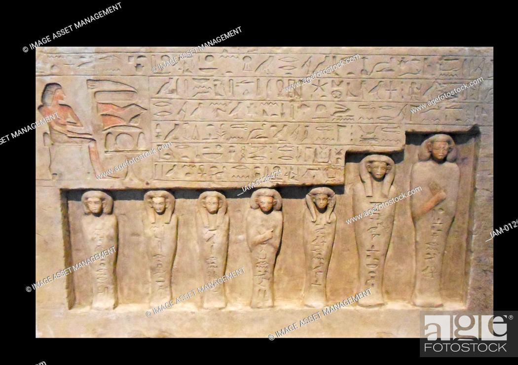 Stock Photo: relief from a funerary chapel at lisht, Egypt. limestone 1802-1640 BC 13th Dynasty.