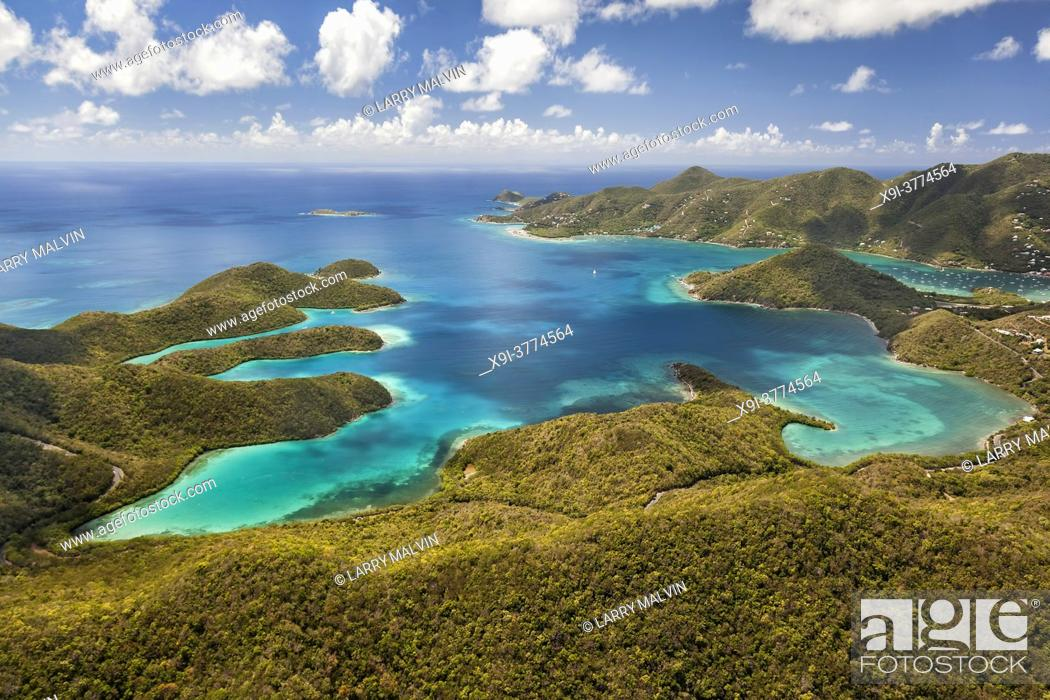Stock Photo: Aerial view of Hurricane Hole with Coral Harbor in the distance on the island of St. John in the United States Virgin Islands.