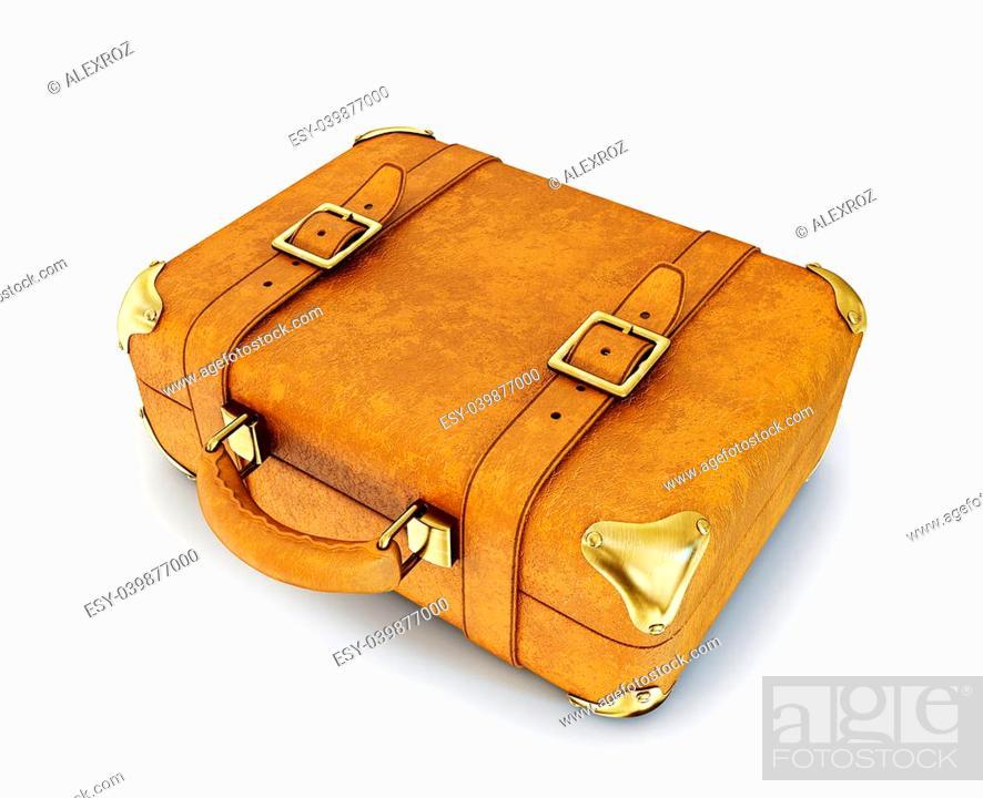 Stock Photo: retro suitcase isolated on a white background.