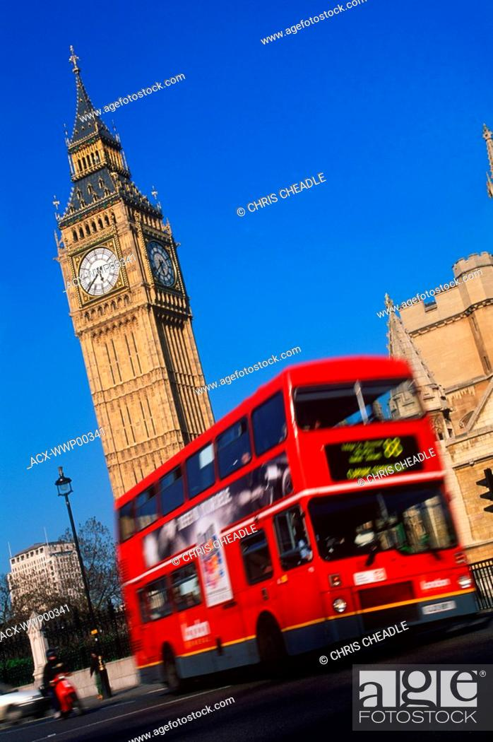 Stock Photo: United Kingdom, London, Westminster with 'Big Ben' clock tower and double decker bus.