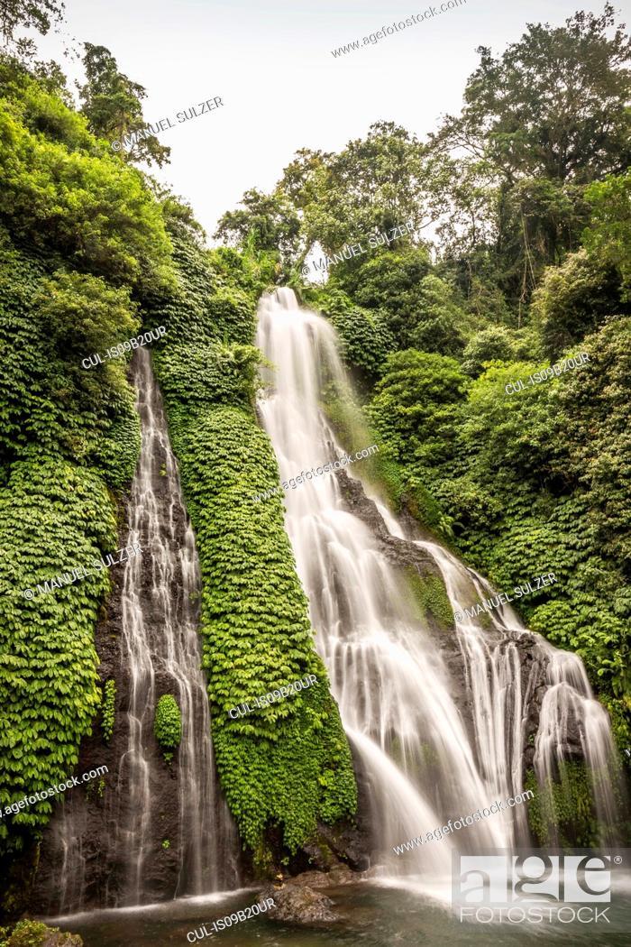 Stock Photo: Rainforest waterfall, Wana Giri, Bali, Indonesia.