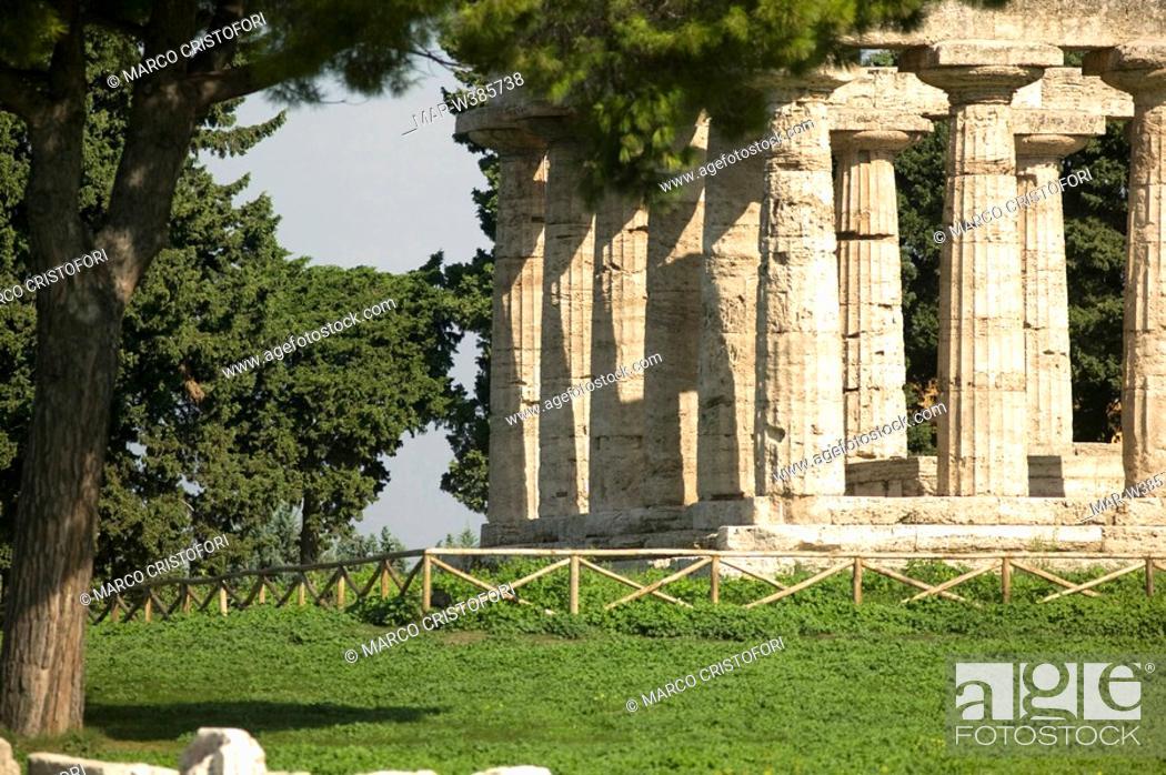 Stock Photo: archeological area, paestum, campania, italy.