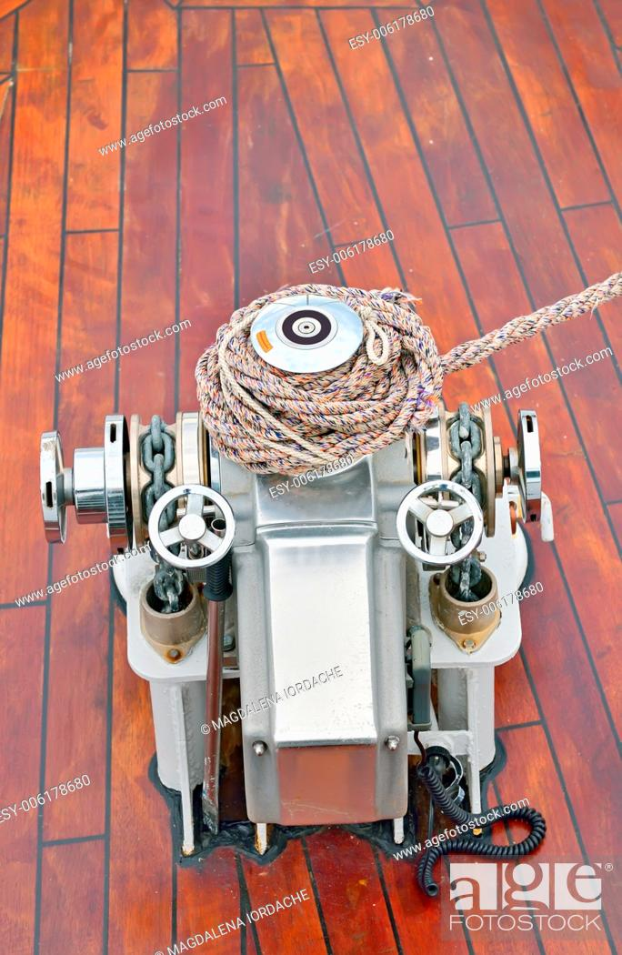Stock Photo: bow anchor winch on ship deck.