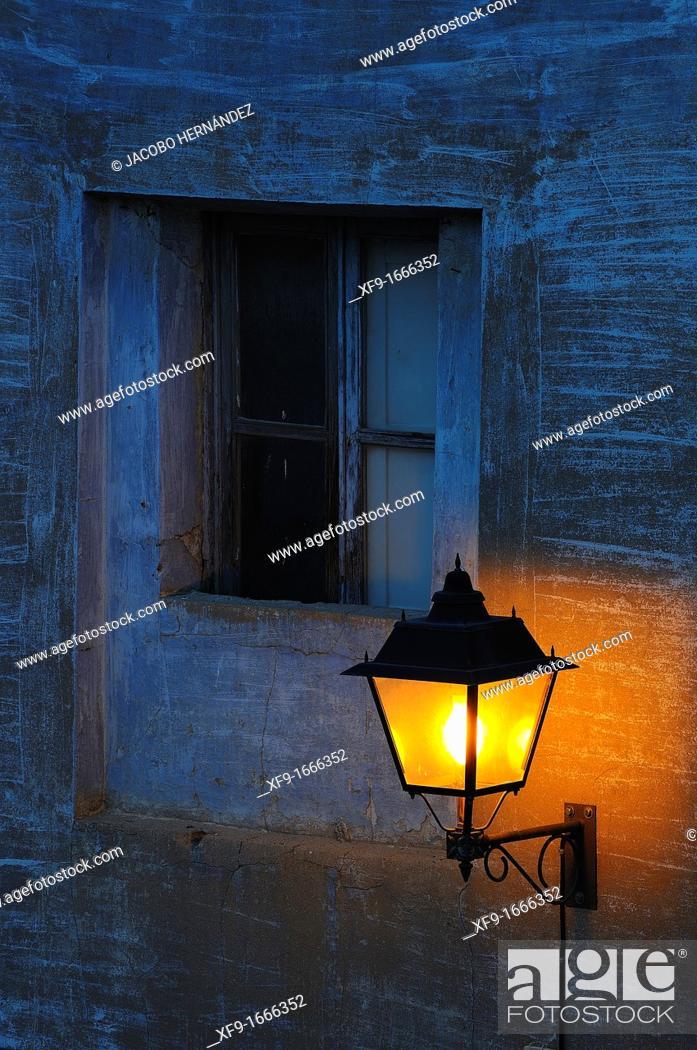 Stock Photo: Lantern and window, Calatayud, Zaragoza province, Aragón, Spain.