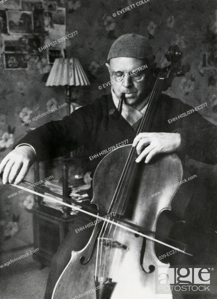 Stock Photo: Pablo Casals, the great cello player in his home in Barcelona. Ca. 1930-38. - (BSLOC-2014-17-198).
