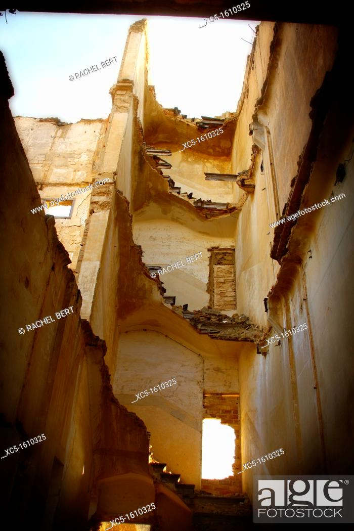 Stock Photo: Belchite Old Town  Ruins of the Spanish Civil War 1936-1939  Zaragoza, Aragon, Spain.