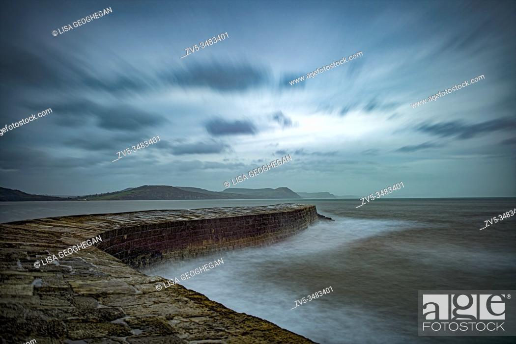 Stock Photo: The Cobb - Lyme Regis Harbour, Lyme Regis, Dorset, England, Uk.