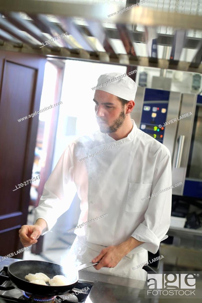 Stock Photo: Chef, Cook in cooking school, Cuisine School, Donostia, San Sebastian, Gipuzkoa, Basque Country, Spain, Europe.