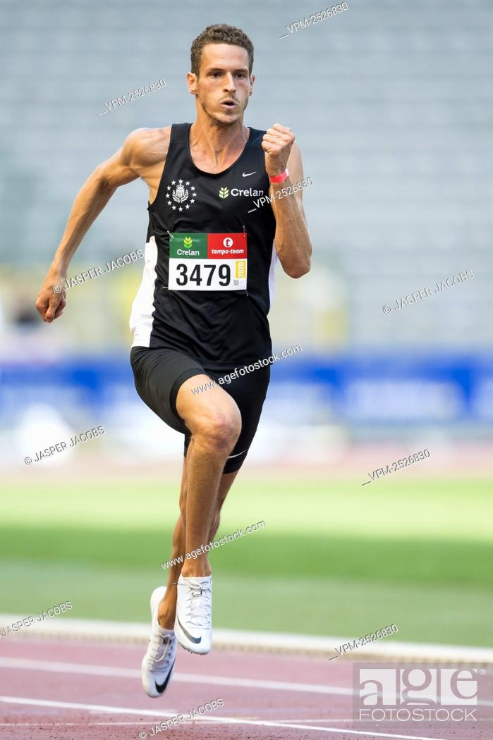 Imagen: Belgian Dylan Borlee pictured in action during the 100m race at the 'Brussels Grand Prix' athletics meeting, in Brussels, Sunday 09 August 2020.