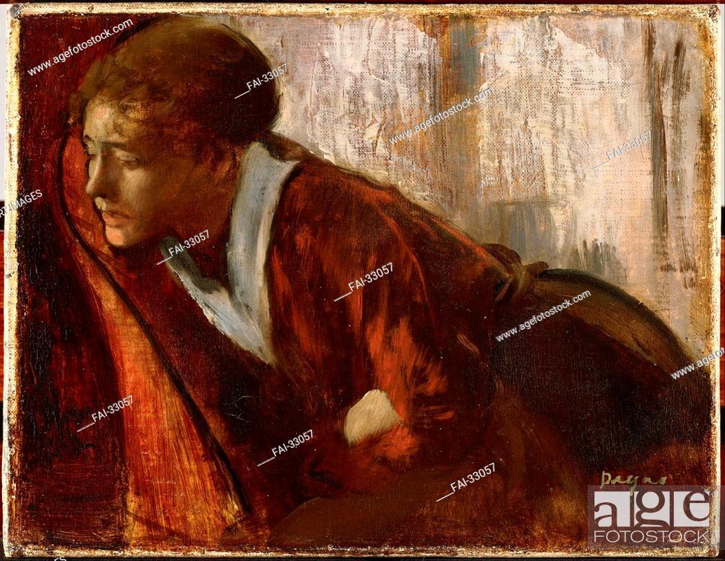Stock Photo: Melancholy by Degas, Edgar (1834-1917)/Oil on canvas/Impressionism/1884-1886/France/Musée d'art moderne André Malraux Le Havre/50x80/Genre/Painting/Melancholie.