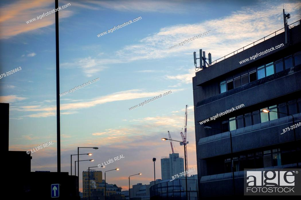 Stock Photo: building at dusk in the City, London, England, UK.