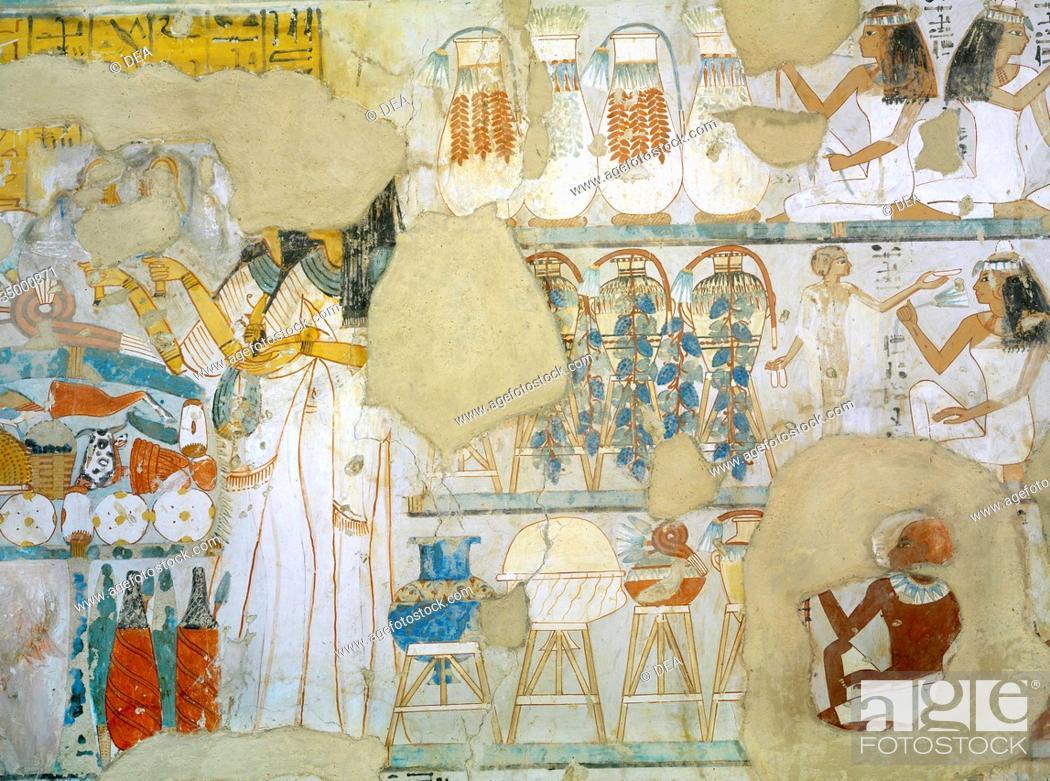 Stock Photo: Egypt, Thebes (UNESCO World Heritage List, 1979) - Luxor. Sheikh 'Abd al-Qurna. Tomb of steward to first Amon prophet at Karnak Djehuty.