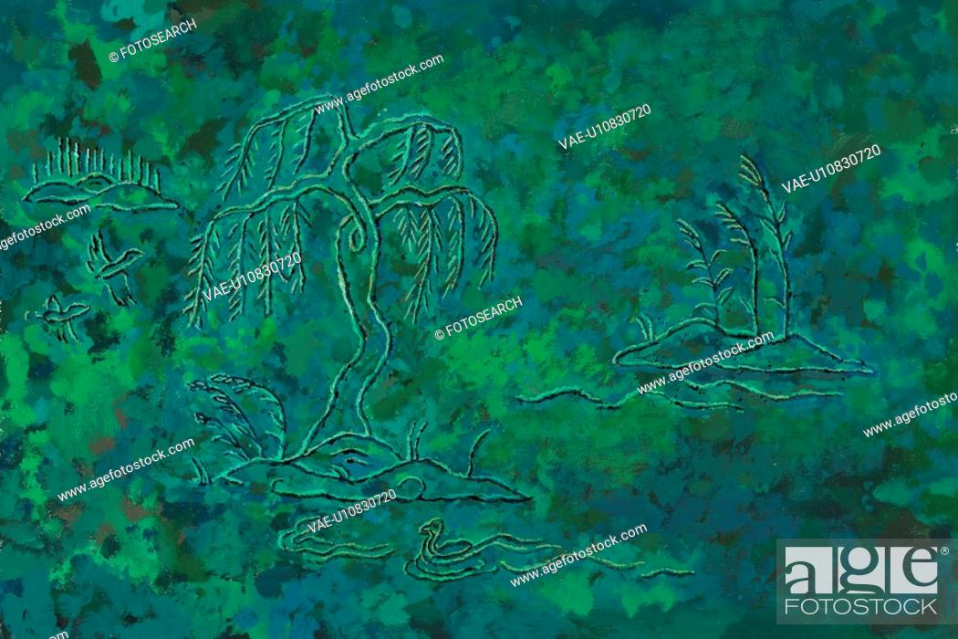 Stock Photo: pair, Orientalpainting, duck, green, background, tree, tradition.