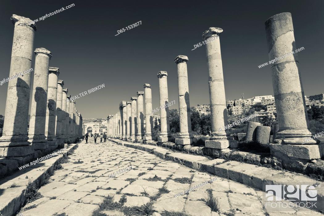 Stock Photo: Jordan, Jerash, overview of Roman-era city ruins, columns along the Cardo Maximus.