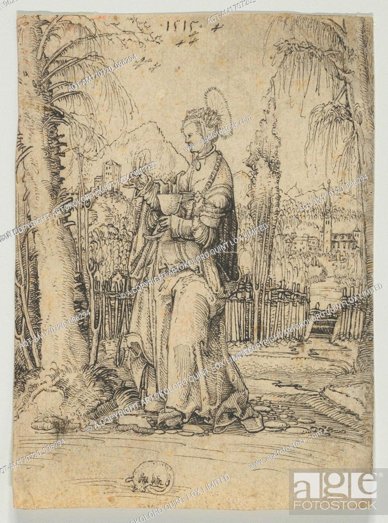 Stock Photo: Saint Barbara in a Landscape, 1515, Pen and black ink, 5 13/16 x 4 3/16 in. (14.8 x 10.7 cm), Drawings, Anonymous, Swiss, 16th Century (?).