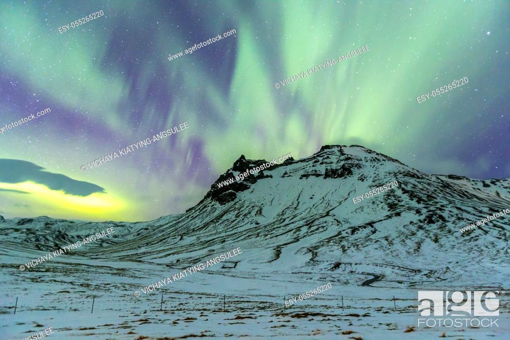Stock Photo: Northern Light Aurora borealis at Vik Iceland.