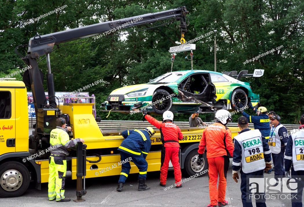 The German GTM race driver Mike Rockenfeller's wrecked Audi