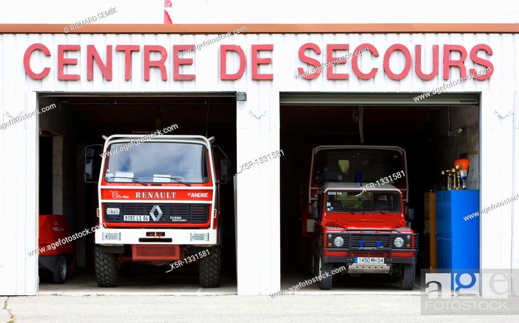 Stock Photo: fire engines, Saint-Andre-les-Alpes, Provence, France.