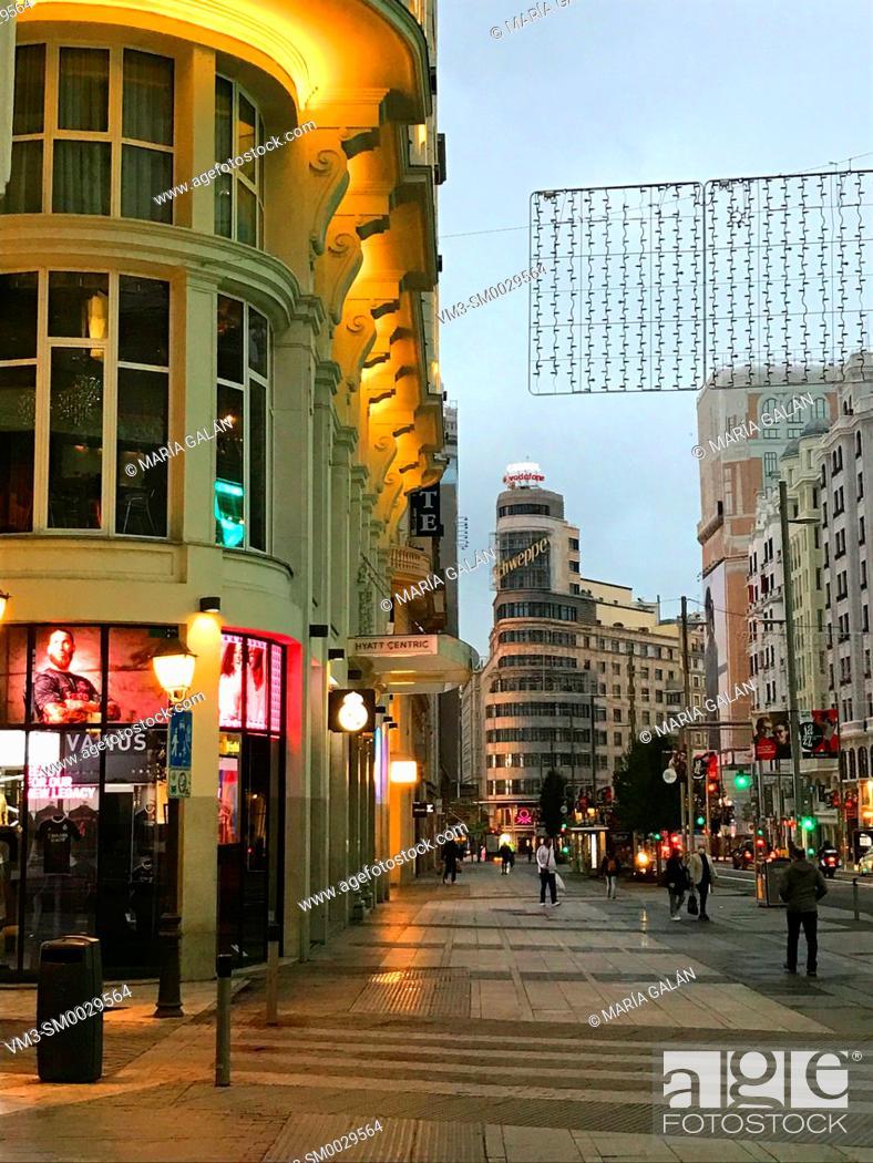 Stock Photo: Gran Via street, night view. Madrid, Spain.