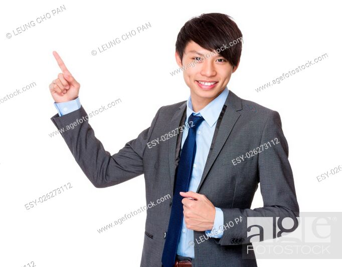 Stock Photo: Businessman showing finger point up.