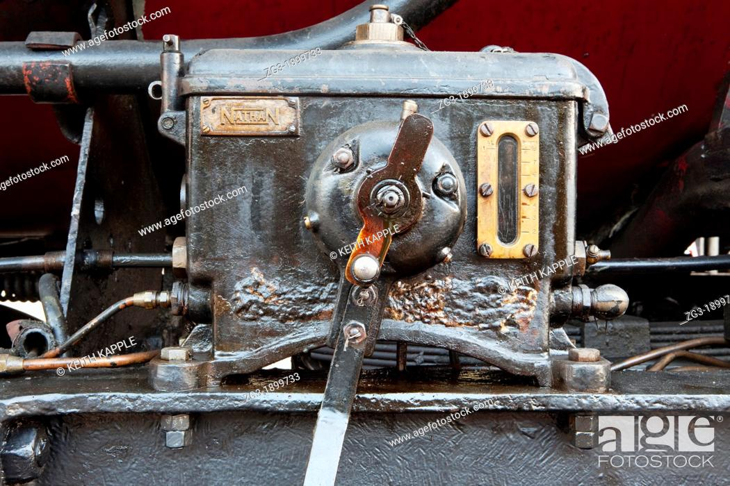 Stock Photo: Gauges and parts of a Steam Locomotive, Texas State Railroad, 1881, Rusk Texas.