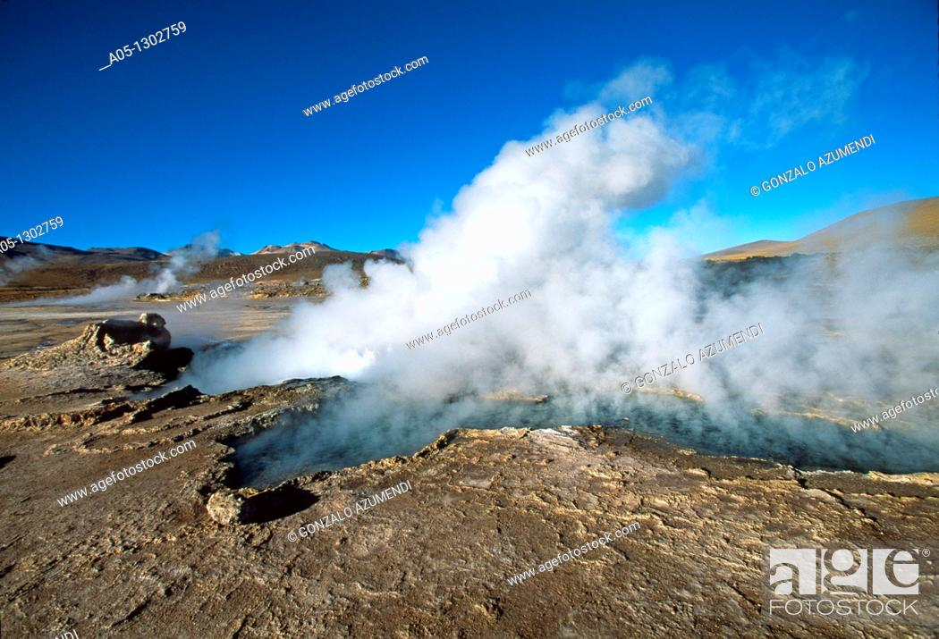 Stock Photo: Geysers El Tatio, Atacama Desert, Region of Antofagasta  North of Chile.