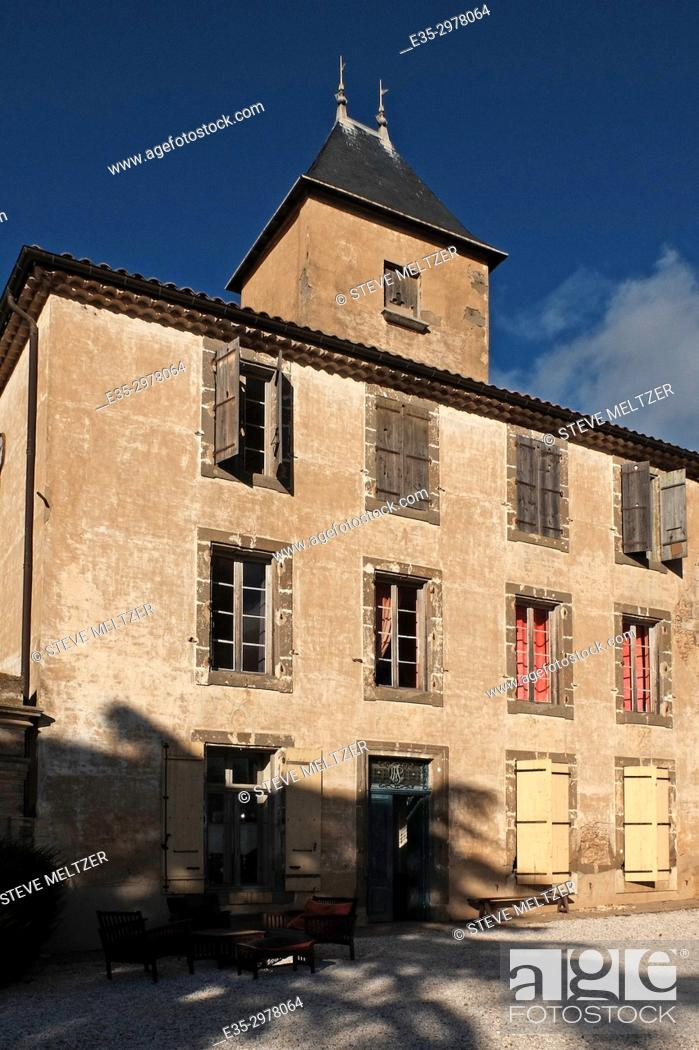Stock Photo: The renovated chateau of the Domaine La Baume winery estate in Servian, France.