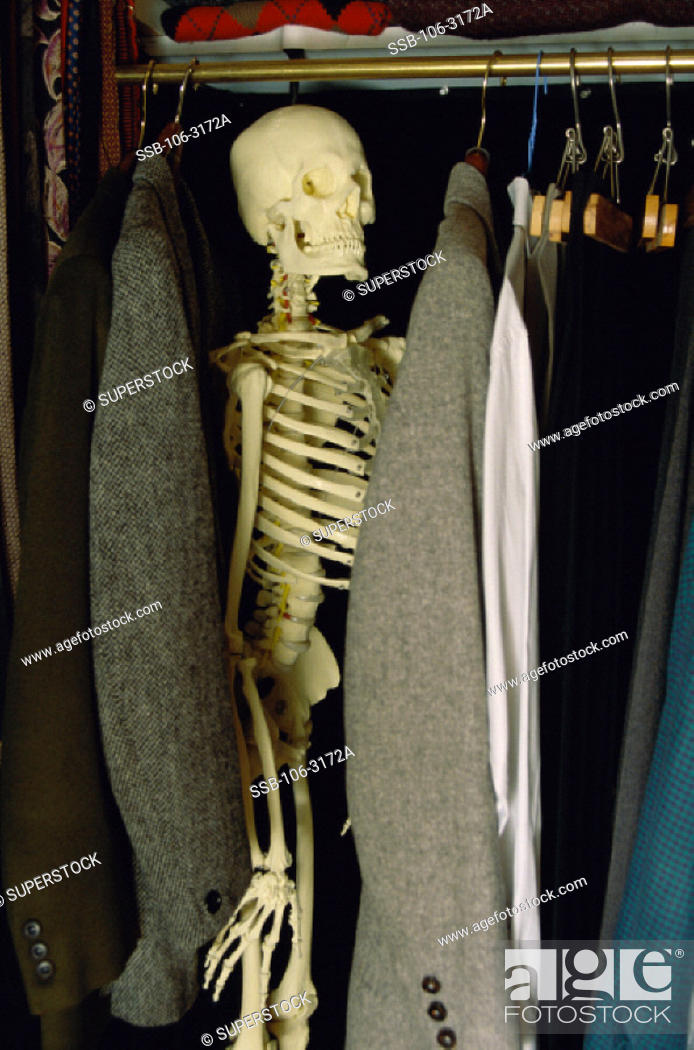 Close Up Of A Human Skeleton In A Closet Stock Photo Picture And