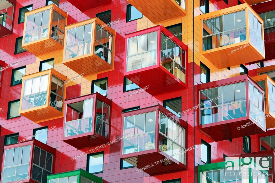 Stock Photo: Colorful residential tower, Ting 1, with balconies and colourful facades, detail, architect Gert Wingårdh, Örnsköldsvik, Västernorrland County.