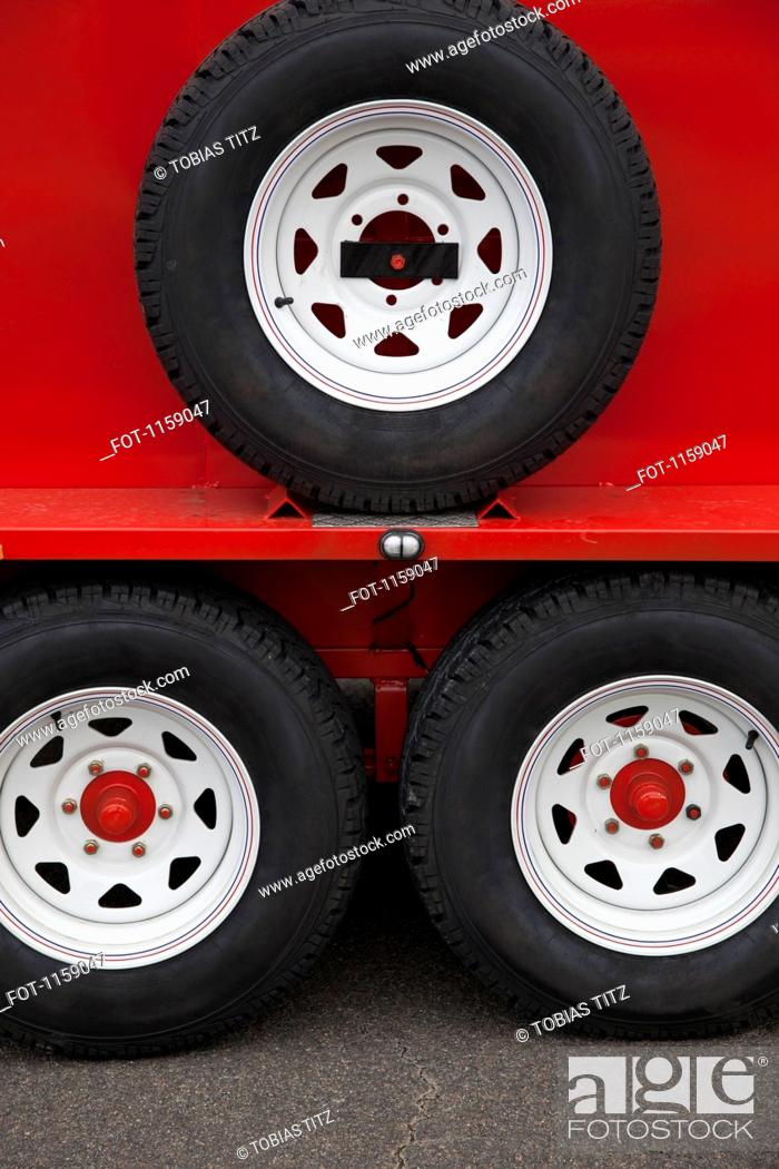 Stock Photo: Wheels of lorry trailer.