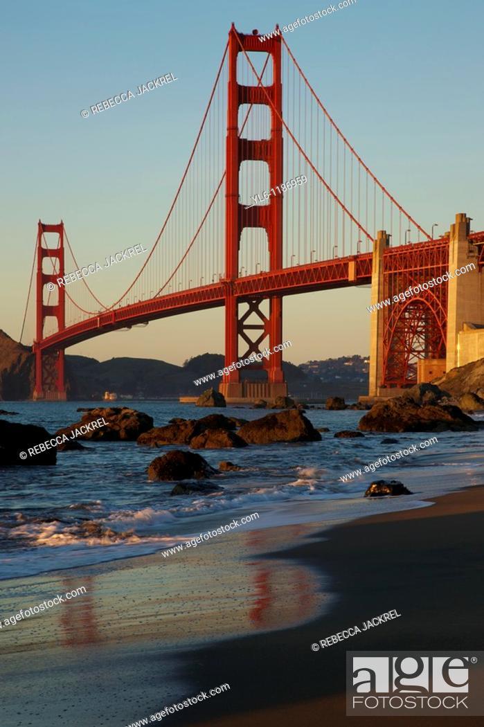 Stock Photo: North America, USA, California, San Francisco  Golden Gate Bridge from Marshall Beach.