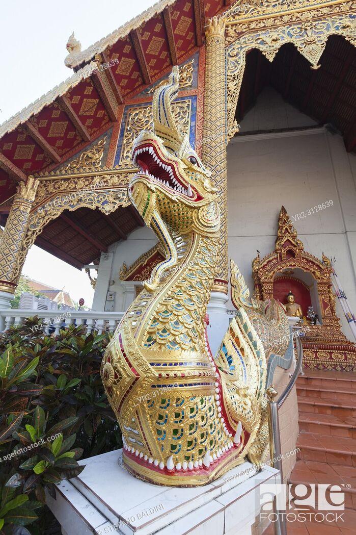 Imagen: Naga serpent at Wat Phra Singh, Chiang Mai, Thailand.