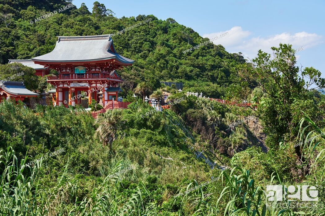 Stock Photo: A structure at the entrance of Udo-Jingu shinto temple. The shrine is dedicated to Yamasachihiko, the . father of Jimmu, the mytical first emperor of Japan.