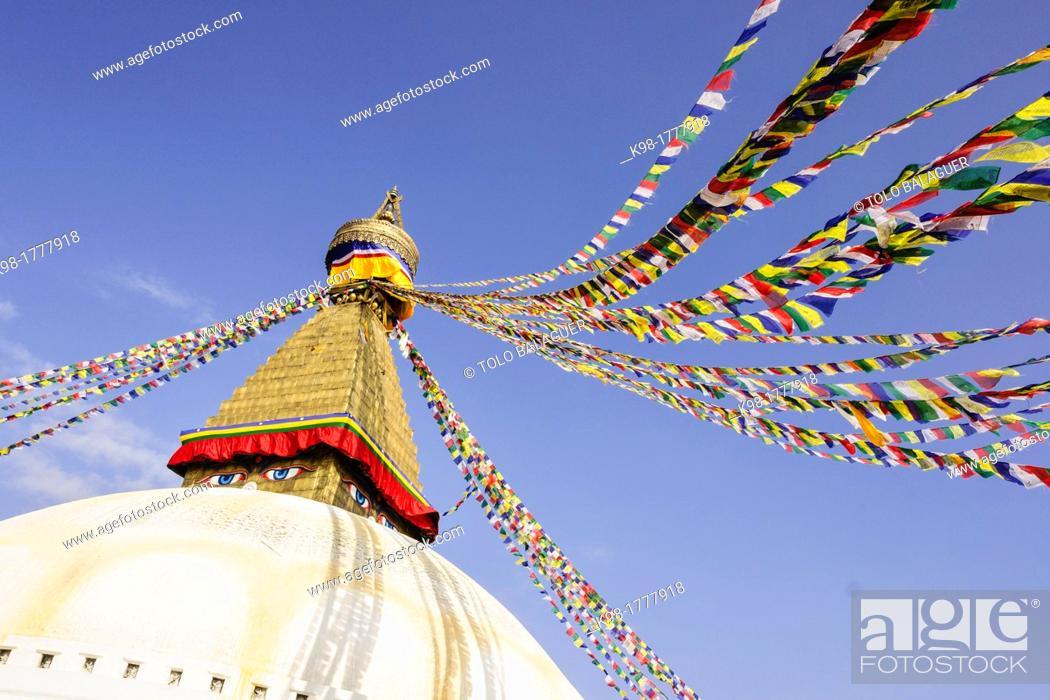 Stock Photo: Boudhdanath Stupa, Kathmandu, Nepal, Asia.