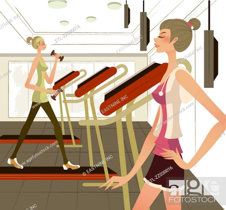 Stock Photo: Side profile of a woman standing with her hand on her hip with another woman exercising on a treadmill.