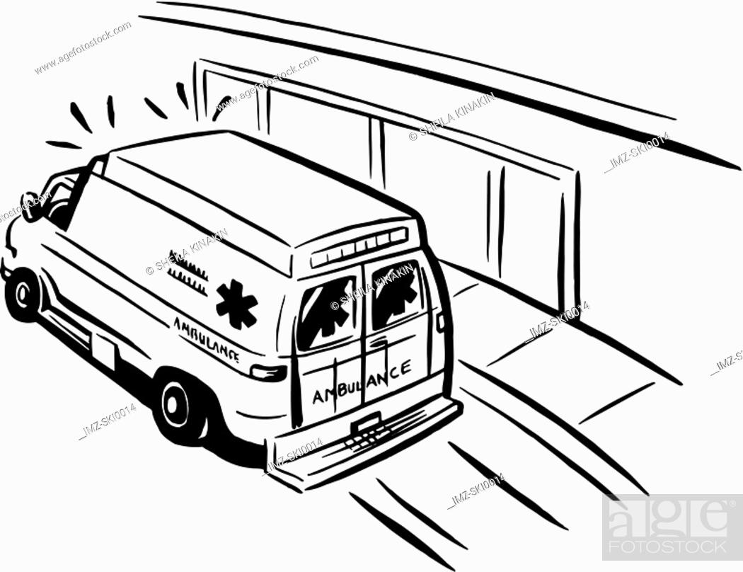 Stock Photo: Black and white drawing of an emergency ambulance.